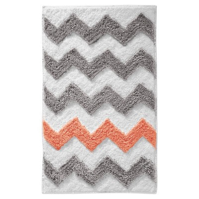 Chevron Microfiber Rectangular Rug 34 x21  Light Gray/Coral - iDESIGN
