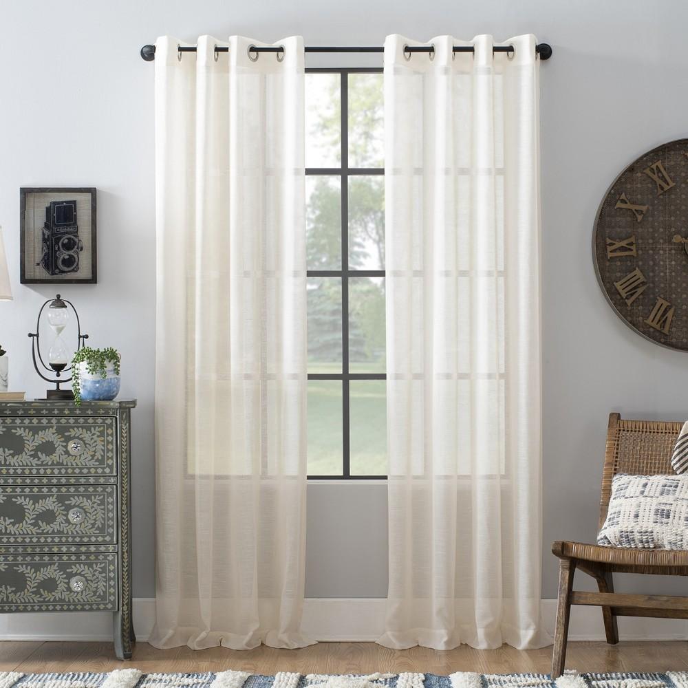 95 34 X52 34 Slub Textured Linen Blend Grommet Top Curtain Ivory Archaeo