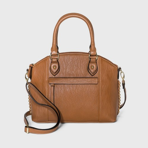 Bueno Zip Closure Satchel Handbag Tan
