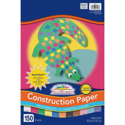 Sunworks Smart-Stack Groundwood Heavyweight Construction Paper, 12 x 18 Inches, Assorted Color, pk of 150