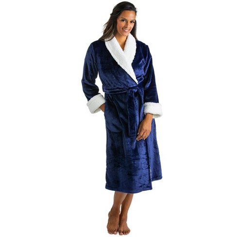 Softies Women's Plush Sherpa Robe with Contrast Trim - image 1 of 4