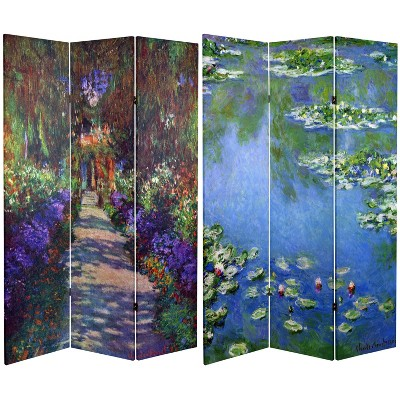 6' Tall Double Sided Works of Monet Canvas Room Divider - Oriental Furniture