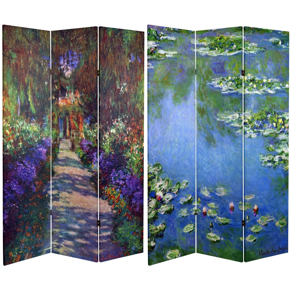 6' Tall Double Sided Works Of Monet Canvas Room Divider Lilies/Garden At Giverny - Oriental Furniture, Multicolored