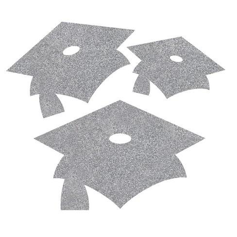 12ct Silver Mortarboard Graduation Cutouts - image 1 of 1