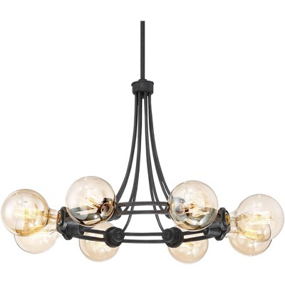 "Possini Euro Design Dark Bronze Chandelier 30 1/2"" Wide 8-Light Exposed Bulb Fixture for Dining Room House Foyer Kitchen Bedroom"