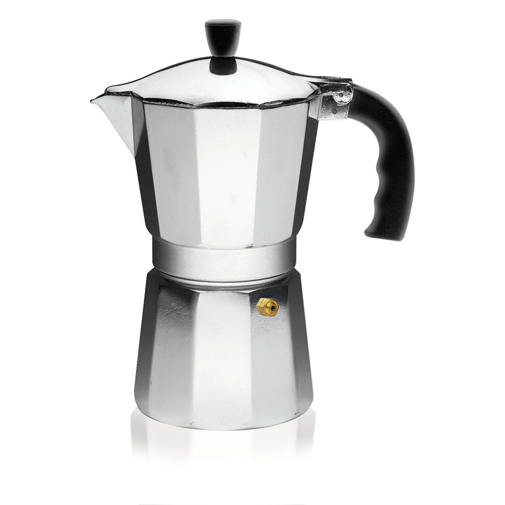 Imusa 6 Cup Aluminum Stovetop Coffeemaker, Black/Silver