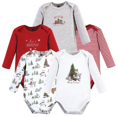 Hudson Baby Unisex Baby Cotton Long-Sleeve Bodysuits, Christmas Forest