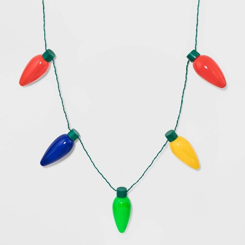 Christmas Light Necklace.Christmas Light Up Bulbs Strand Necklaces