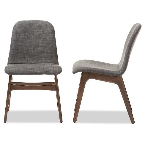 Embrace Mid Century Retro Modern Scandinavian Style Dark Gray Fabric Upholstered Walnut Wood Finishing Dining Chair2 Set Of 2 Baxton Studio Target