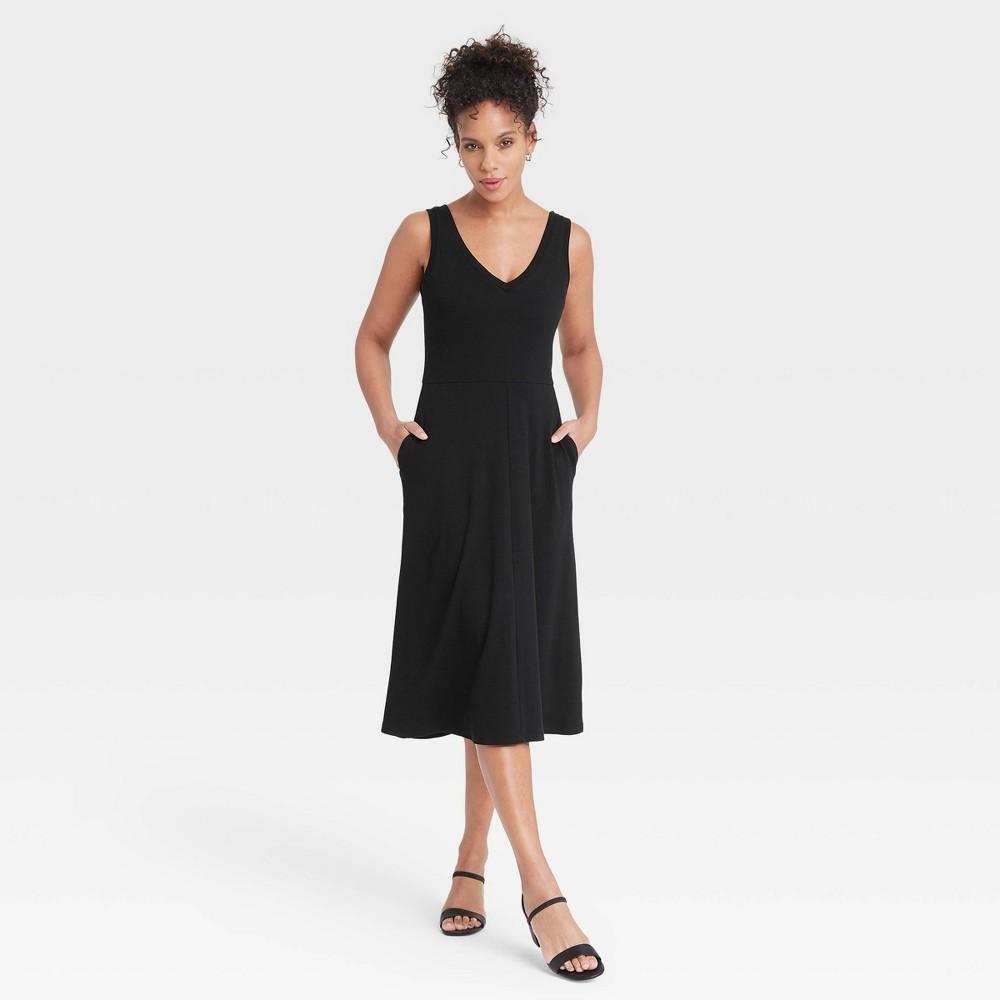 Women 39 S Sleeveless Rib Knit Ballet Dress A New Day 8482 Black Xs