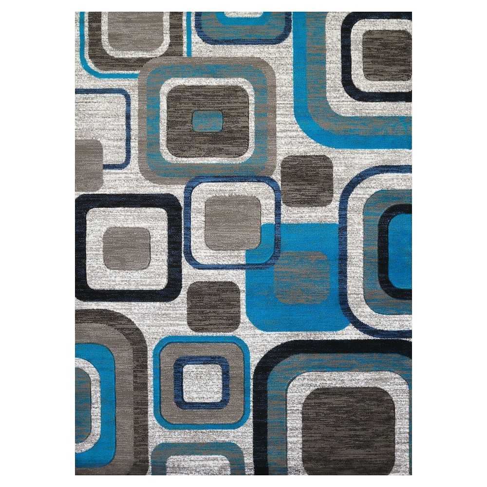 "Image of ""Blue Geometric Hooked Area Rug - (5'3""""x7') - United Weavers"""