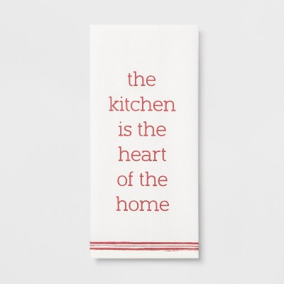 28 x18  The Kitchen Is The Heart Of The Home Flat Weave Kitchen Towel White/Pink - Threshold™