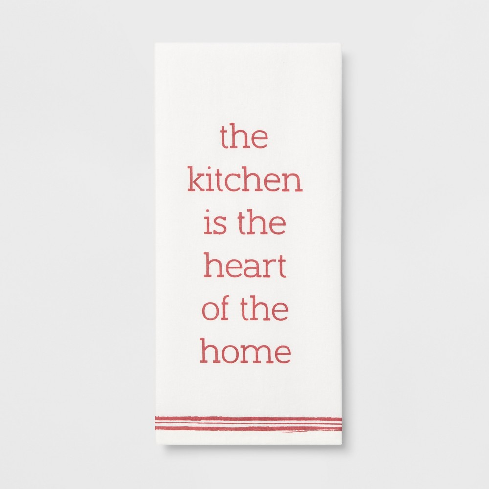 "Image of ""28""""x18"""" The Kitchen Is The Heart Of The Home Flat Weave Kitchen Towel White/Pink - Threshold , White Pink"""