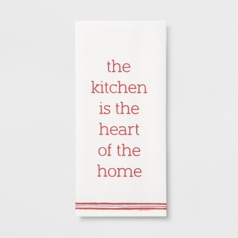 "28""x18"" The Kitchen Is The Heart Of The Home Flat Weave Kitchen Towel White/Pink - Threshold™ - image 1 of 1"