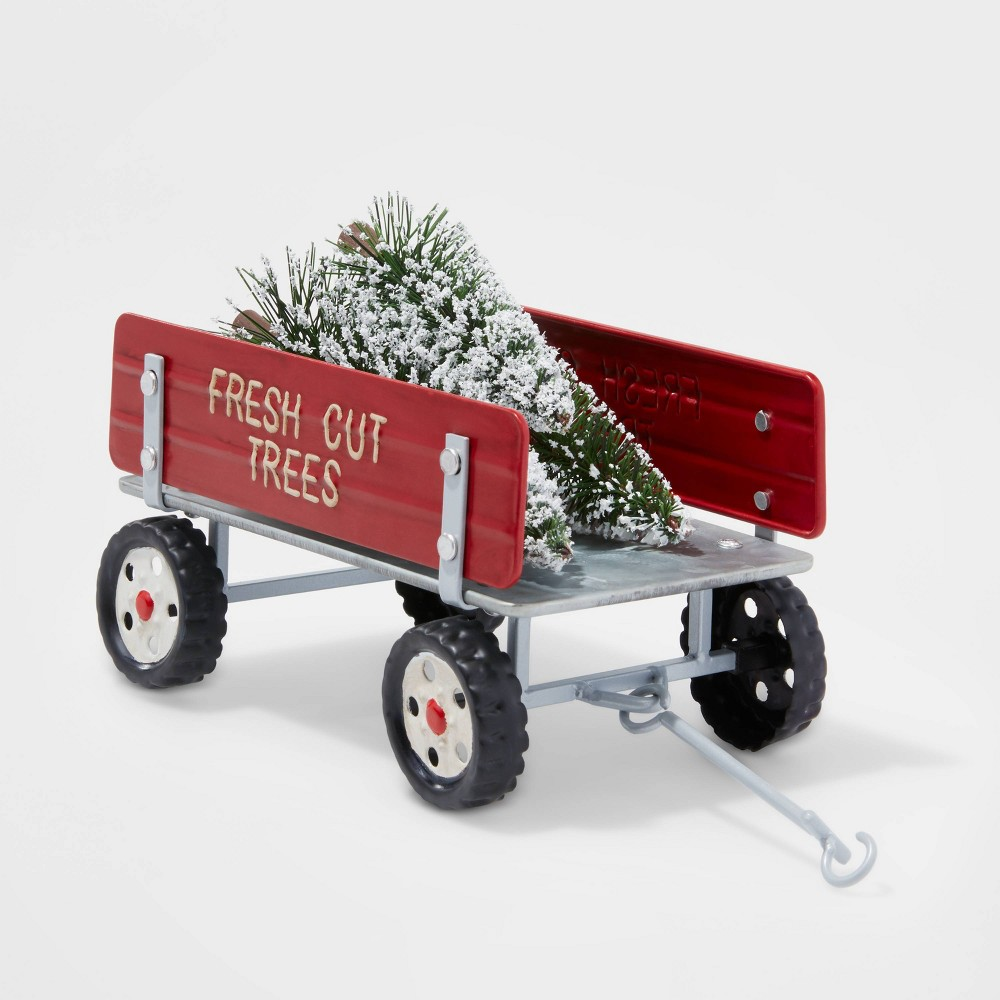 Image of Small Fresh Cut Trees Wagon with Bottle Brush Trees Decorative Figure Red - Wondershop