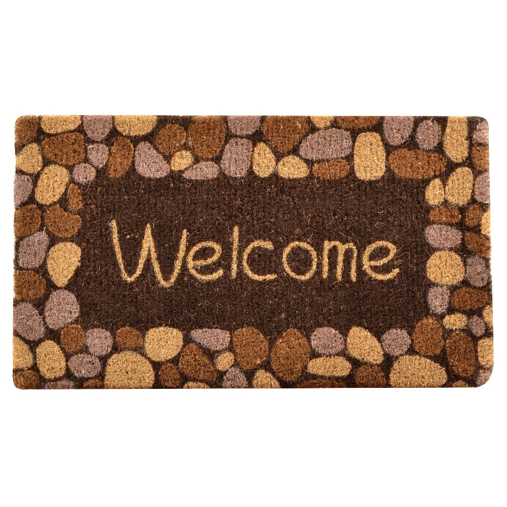 HomeTrax Coir Mat Doormat -Welcome River Rocks(18 x 30)