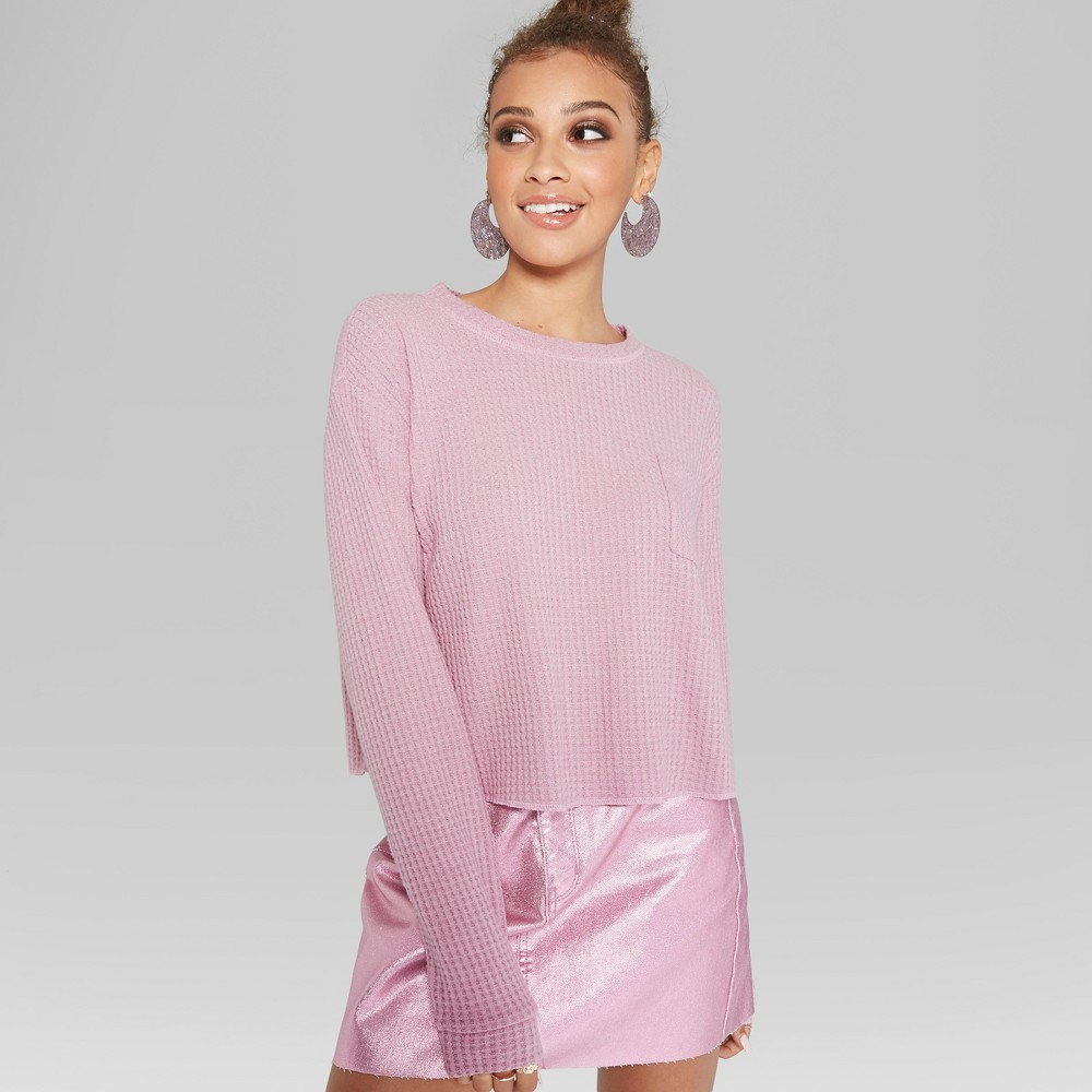 Women's Long Sleeve Cozy Waffle Boxy Top - Wild Fable Rio Rose L