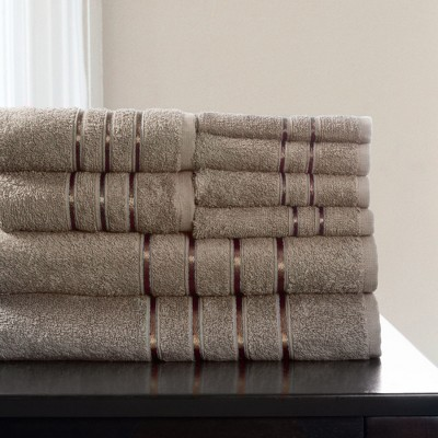 8pc Plush Cotton Bath Towels Set Taupe - Yorkshire Home