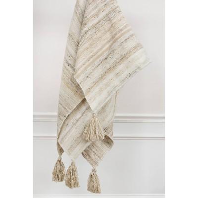"50""x60"" Stripe Throw Blanket Light Beige - Rizzy Home"