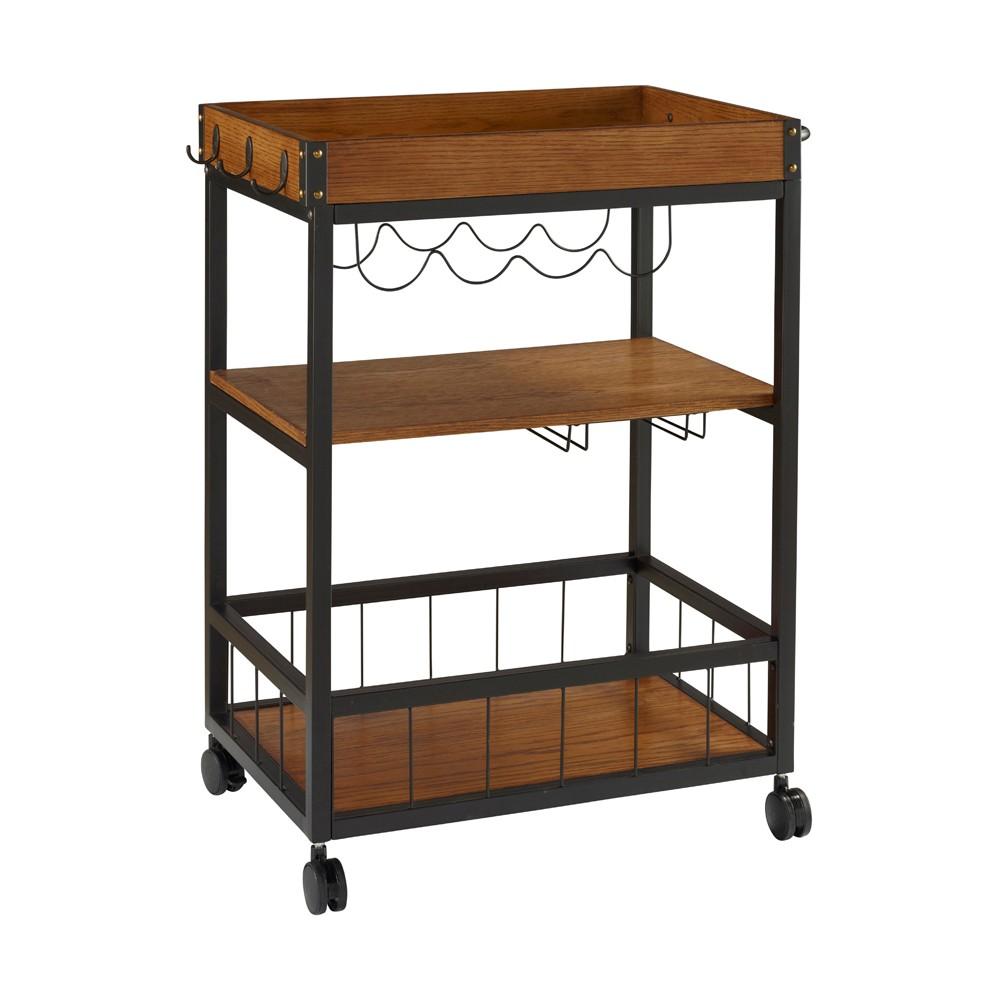Austin Kitchen Cart Metal/Wood - Linon, Black