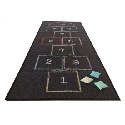 Asweets Kid's Classic Chalk Hopscotch Rug Floor Mat Activity Game Playmat with 3 Colorful Throw Beanbags for Children Ages 4 Years Old and Up
