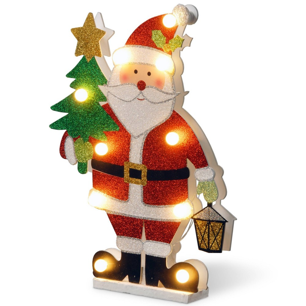 "Image of ""17"""" Prelit Wooden Santa Decorative Sculpture - National Tree Company, White Red Green"""