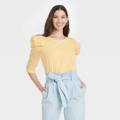 Women's Elbow Sleeve Eyelet Top - A New Day™