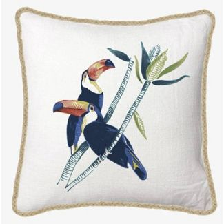 Square Toucan Printed Pillow with Jute Trim - Threshold™