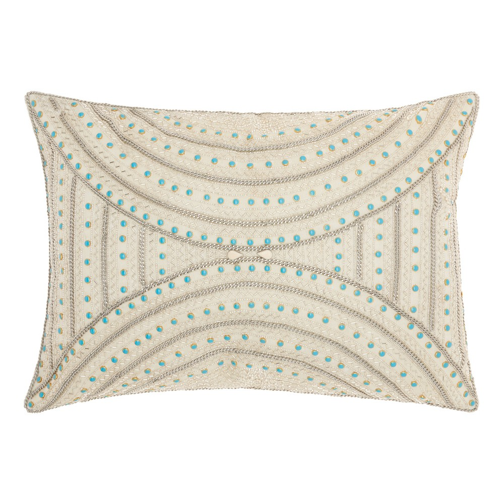 Image of Light Cream Mosaic Throw Pillow - Mina Victory, Beige