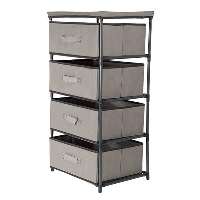 Juvale Dresser Closet Storage Chest Tower Cabinet Furniture with 4 Fabric Drawer Bins - Light Gray, 16.5 x 13 x 33 inches