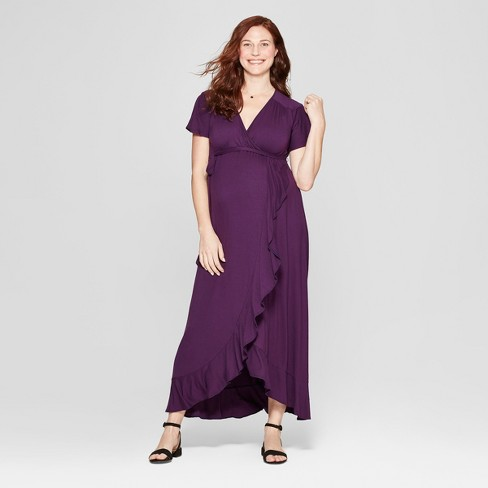 Maternity Knit Wrap Dress - Isabel Maternity by Ingrid & Isabel™ Purple Currant - image 1 of 2