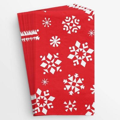 20ct Snowflake Tall Disposable Napkin Red - Wondershop™