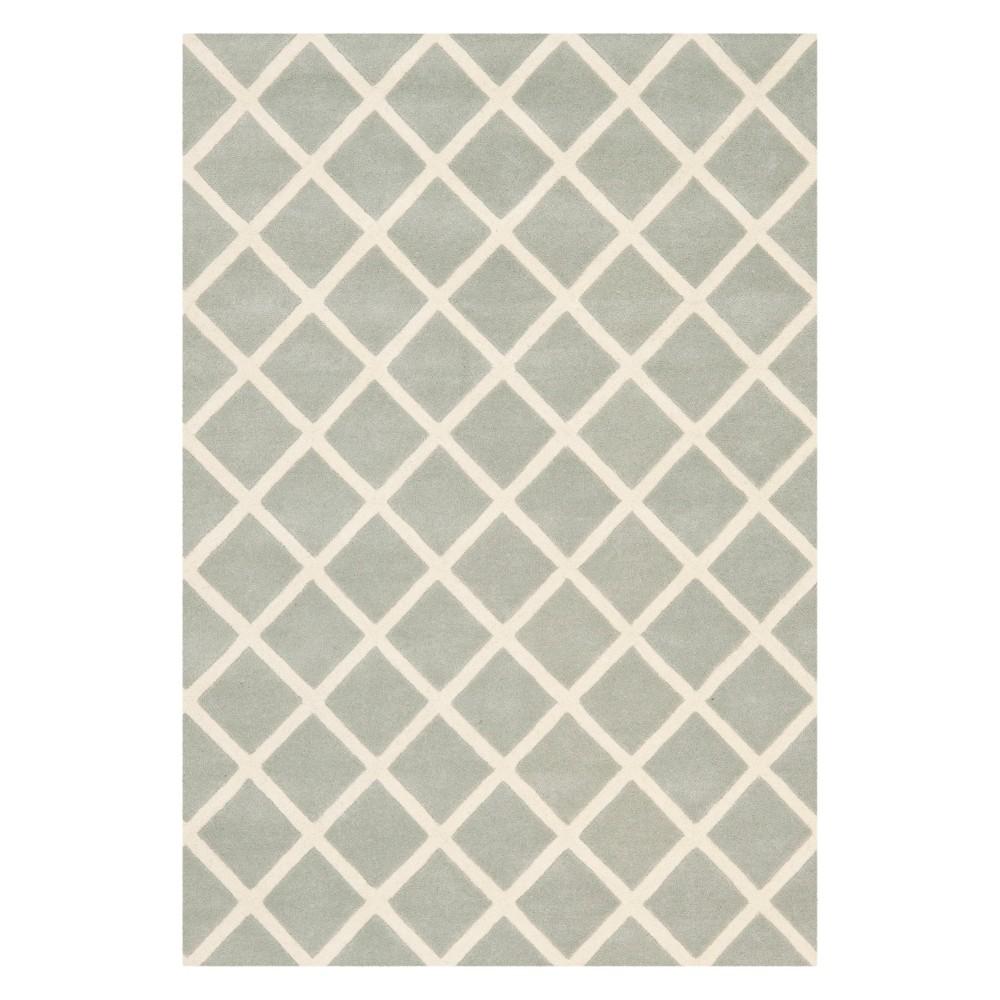 4'X6' Geometric Tufted Area Rug Gray/Ivory - Safavieh