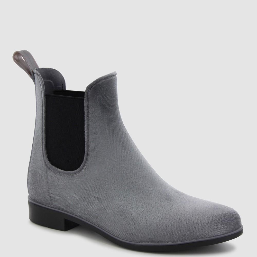 Women's Chooka Vivien Velvet Chelsea Rain Boot - Gray 10
