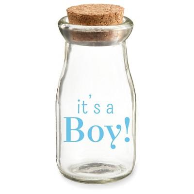 """12ct Vintage Milk Favor Jar """"It's a Boy"""" For Baby Shower Favor Gift"""