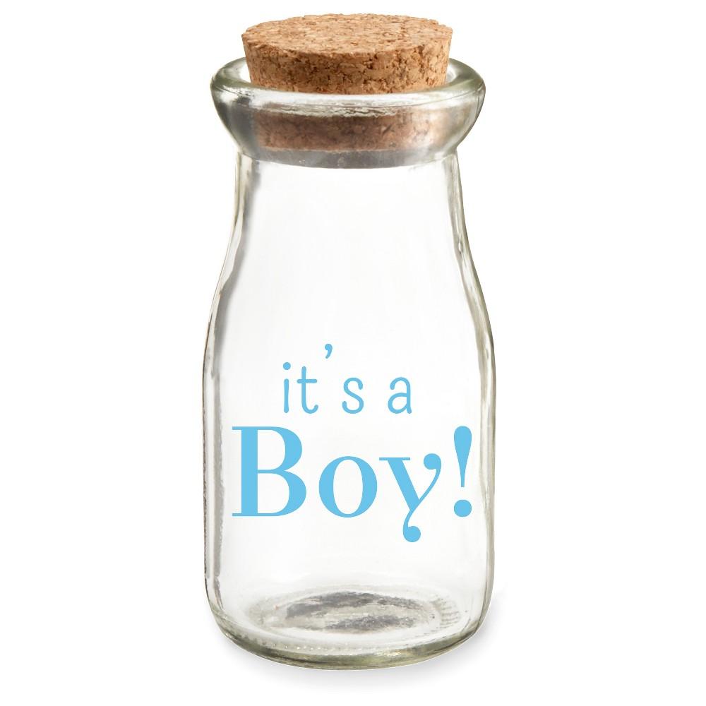 "Image of ""12ct Vintage Milk Favor Jar """"It's a Boy"""" Blue"""