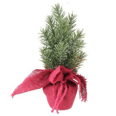 "Northlight 8.5"" Slim Metallic Finished Mini Pine Christmas Tree in Burlap Covered Vase - Unlit"
