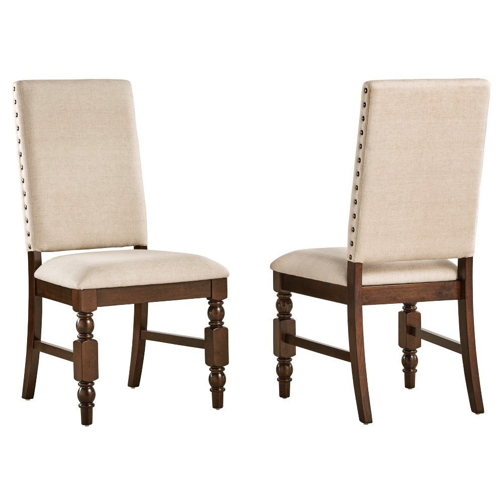 Fitzgerald Nailhead Accent Side Dining Chair (Set of 2) - Inspire Q, Beige