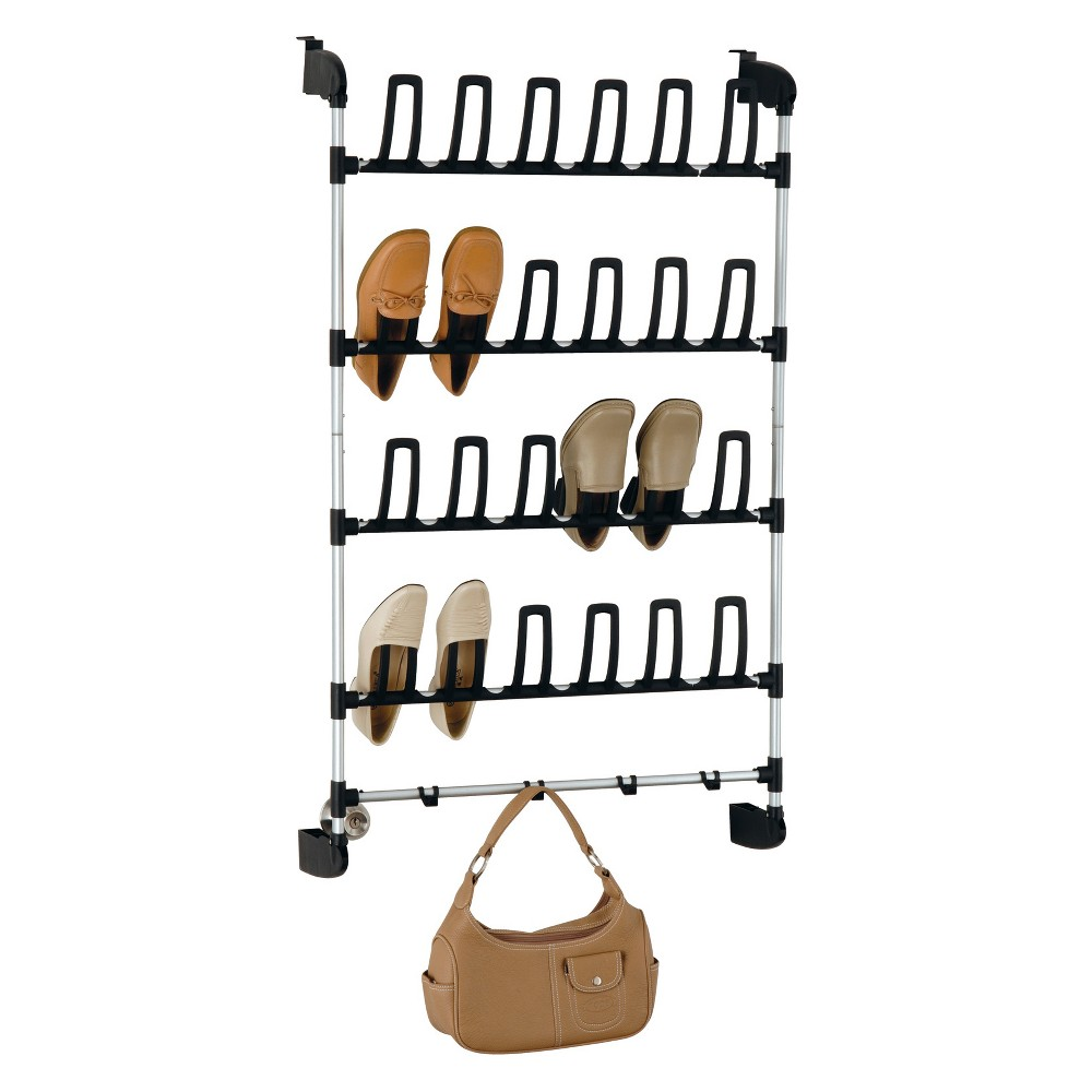 Image of Neu Home Overdoor 12 Pair Shoe Rack With Hook Medium Silver
