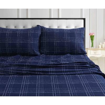 Queen Printed Pattern Extra Deep Pocket Heavyweight Flannel Sheet Set Navy Plaid - Tribeca Living