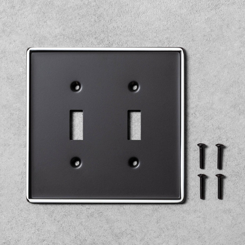 Image of 2pk Double Light Switch Plate Black Metal - Hearth & Hand with Magnolia