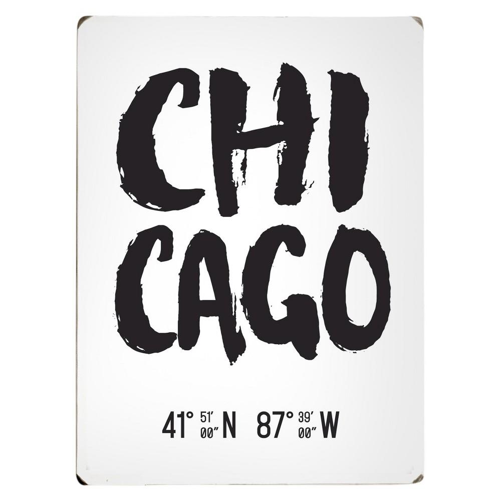 Scoutmob Latitude & Longitude Woodblock Art - Chicago