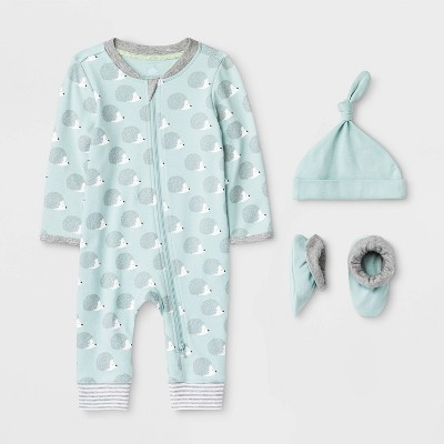 Baby 3pc Hedgehog Layette Gift Set - Cloud Island™ Blue 0-3M