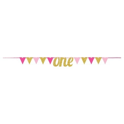 1st Birthday Girl Pennant Banner Target