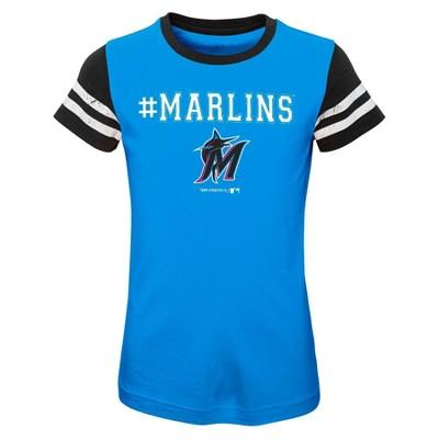 MLB Miami Marlins Girls' Scoop Neck Yolk T-Shirt - XS