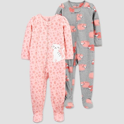Baby Girls' 2pk Cat/Sheep Footed Pajama - Just One You® made by carter's Pink 9M