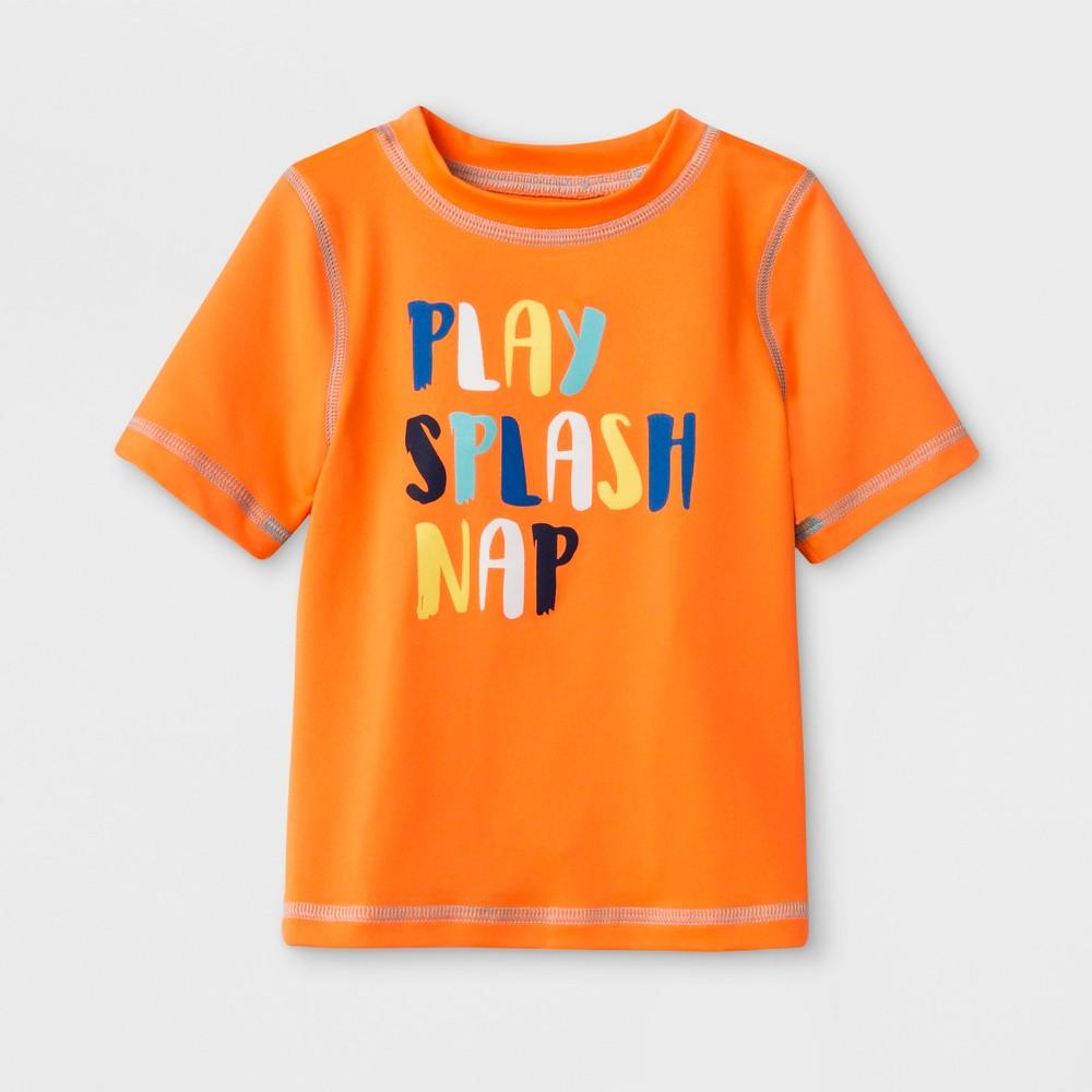Baby Boys' Short Sleeve Rash Guard - Cat & Jack Orange 18M
