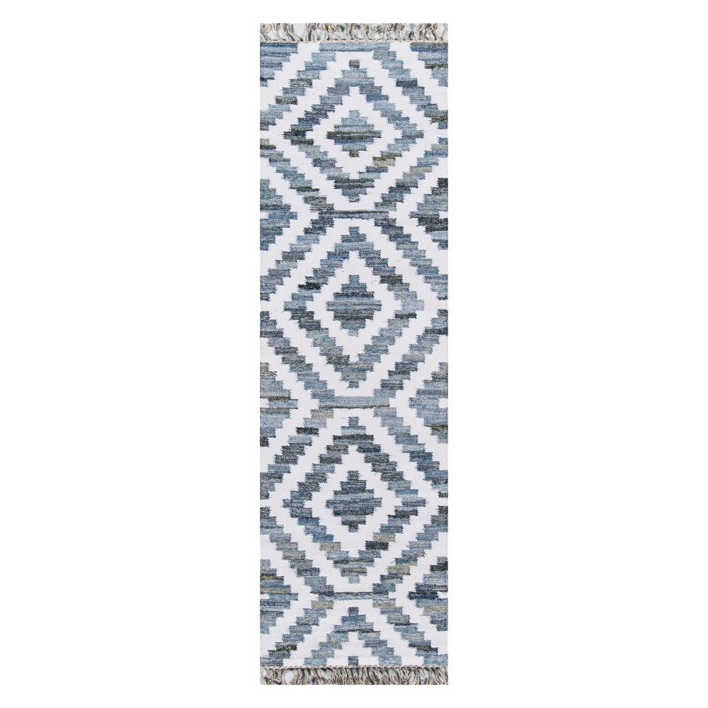 2'3X8' Geometric Woven Runner Blue - Novogratz By Momeni, Blue White