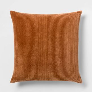 Quilted Washed Velvet Oversize Square Pillow Brown - Threshold™