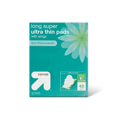 Ultra Thin Long Super Pads with Wings - 42ct - up & up™